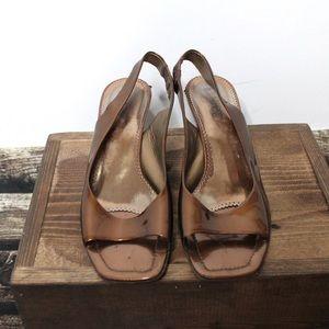 🎀 Franco Sarto Bronze Metallic Square Toe Wedges